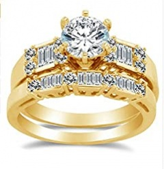 GOWE Royal Design Lab Grown Diamond Engagement Wedding Ring Set Solid 14K Yellow Gold