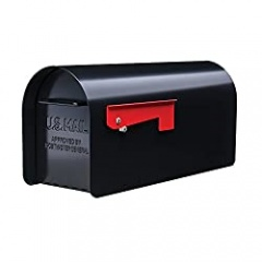 Gibraltar Mailboxes Ironside Large Capacity Galvanized Steel Black, Post-Mount Mailbox, MB801B