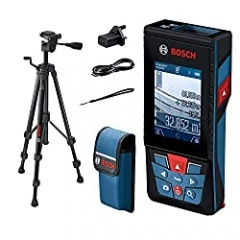 Bosch Professional laser measure GLM 120 C (integrated camera, data transfer via Bluetooth, range: 0.08–120 m, carrying strap, micro USB cable and charger, tripod)