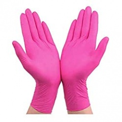 Pink Disposable Gloves, Durable Nitrile Disposable Gloves, Rubber Latex Gloves For Household Food Preparation, Clean Convenient Dispenser Packaging (Size : M)