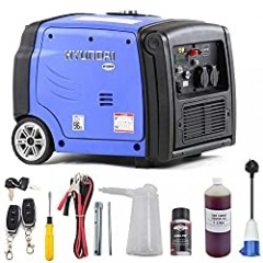 Hyundai HY3200SEi 3.2kW / 4kVA Portable Remote and Electric Start Inverter Generator, 3.2 W, 230 V, Blue