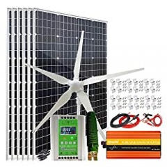 1200 Watt Solar Wind Turbine Kit for Farm 24V Battery Charger with 6x 100W Mono Solar Panel | 1x 600W Wind Turbine Generator | 1000W Inverter| Hybrid MPPT Controller| Mount Brackets & Cables