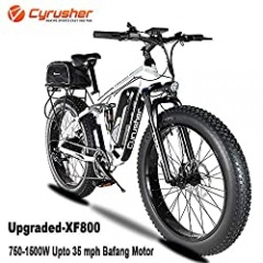 Cyrusher Upgraded XF800 Electric Mountain Bike 750W/1500W Upto 35mph 26inch Fat Tire e-Bike 7 Speeds Beach Cruiser Sports Mountain Bikes Full Suspension,Lithium Battery Hydraulic Disc Brakes