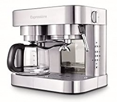 Espressione Stainless Steel Machine Espresso and Coffee Maker, 1.5 L