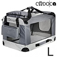 CADOCA® Soft-Sided Pet Carrier for Dogs Cats & Small Animals | Folding Water-repellent Washable Lightweight Steel Frame Incl. Blanket & Bags | S-XXL (L)