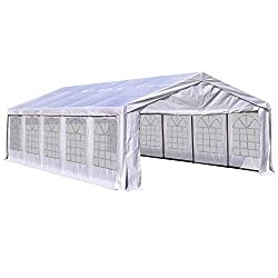Commercial Party Capony Tent Heavy Duty Gazebo Carport with Removable Sidewalls, White