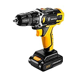 DEKO Cordless Drill, 20V Max Lithium-Ion Drill Driver Kit with 2-Speed, 3/8