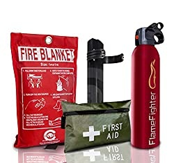 FIRE Safety Essentials 500 G ABC Dry Powder FIRE Extinguisher with Blanket and 1ST AID KIT Ideal for Homes, Boats, Kitchen Offices WORKPLACES