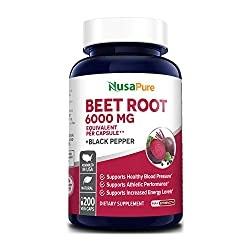 Beet Root 6000 mg 200 Veggie caps (Vegan, Non-GMO, Extract 20:1 & Gluten-Free) with Black Pepper - Supports Healthy Blood Pressure, Supports Performance and Energy Levels