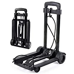 Folding Hand Truck Foldable Transport Trolley Includes 1 Expander Ropes?Adjustable Drawbar, 25KG Capacity and Lightweight(1.25KG)